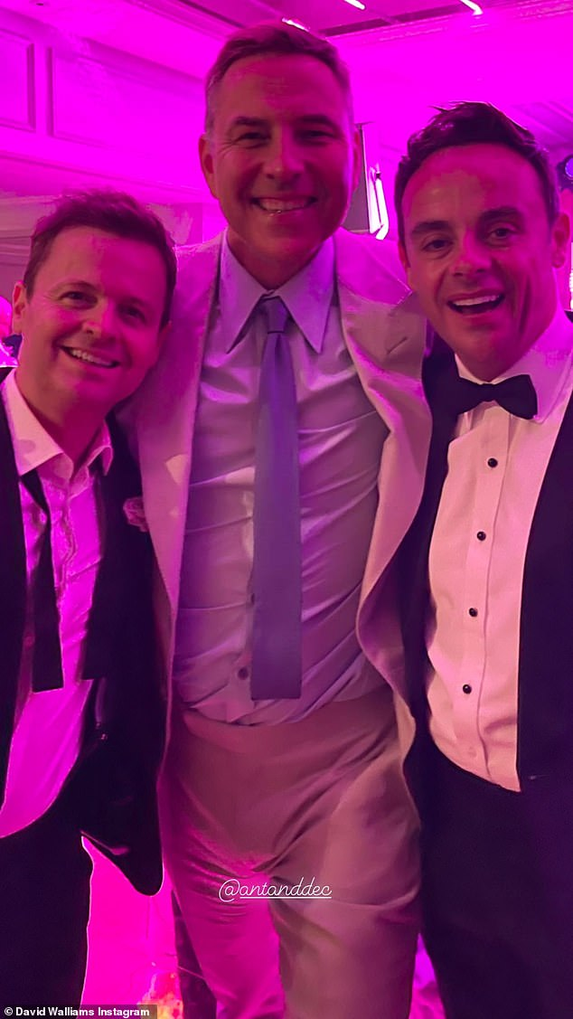 Friends:David Walliams beamed as he posed at Ant McPartlin's wedding with the groom and Best Man Declan Donnelly in a snap uploaded to his Instagram on Monday