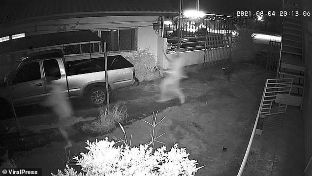 Raymond Dean is seen on the left of the screen sprinting away from the machete thug back towards his property in Chachoengsao province Thailand