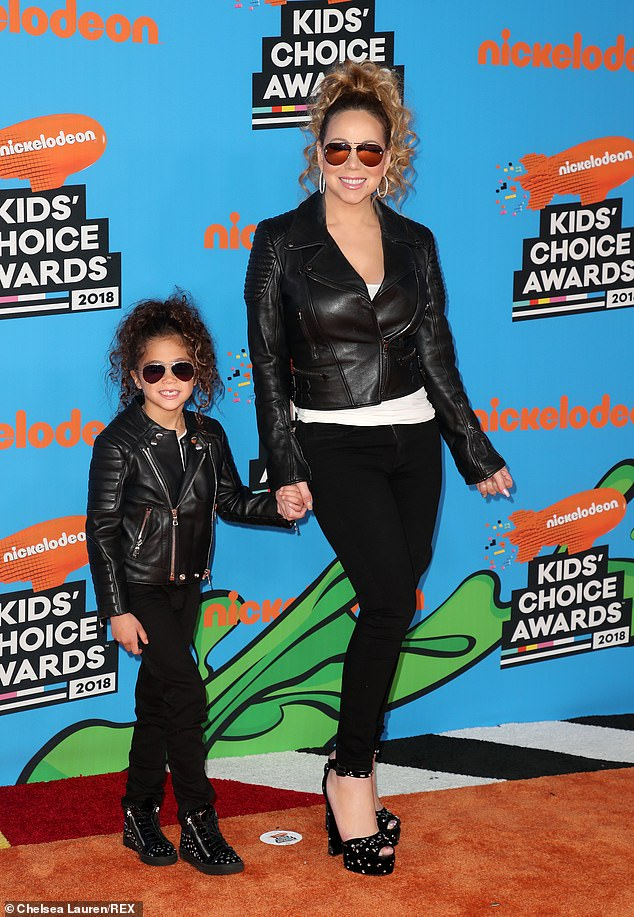 Just the two of us:Cannon shares 10-year-old twins Monroe (pictured in March 2018) and Moroccan with ex Mariah Carey