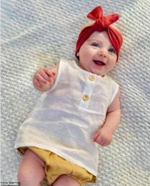 Five-month-old Mia (pictured) suffered a serious head injury and died in hospital after she and her mother Simone Francis were swooped by an aggressive magpie