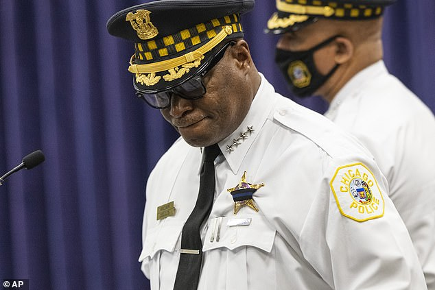 Chicago Police Supt. David Brown takes a moment as he provides an update on the shooting of two police officers in West Englewood during a news conference at the Chicago Police Headquarters