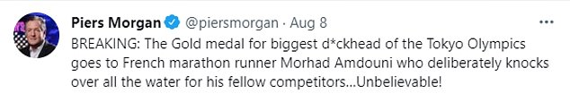 Morhad Amdouni was branded the 'biggest d***head of the Olympics' after it appeared he deliberately knocked over water bottles in the marathon