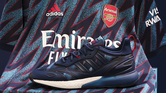 The kit has a lightning bolt pattern through the kit in adidas' third season with the club