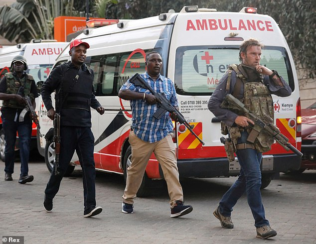 The Special Forces veteran, who uses the pseudonym Chris Craighead on Instagram, shared a photograph showing his face for the first time. The image shows Craighead (right) leading Kenyan security forces towards the luxury DusitD2 hotel in Nairobi in 2019 before storming the complex and defeating al-Shabaab terrorists