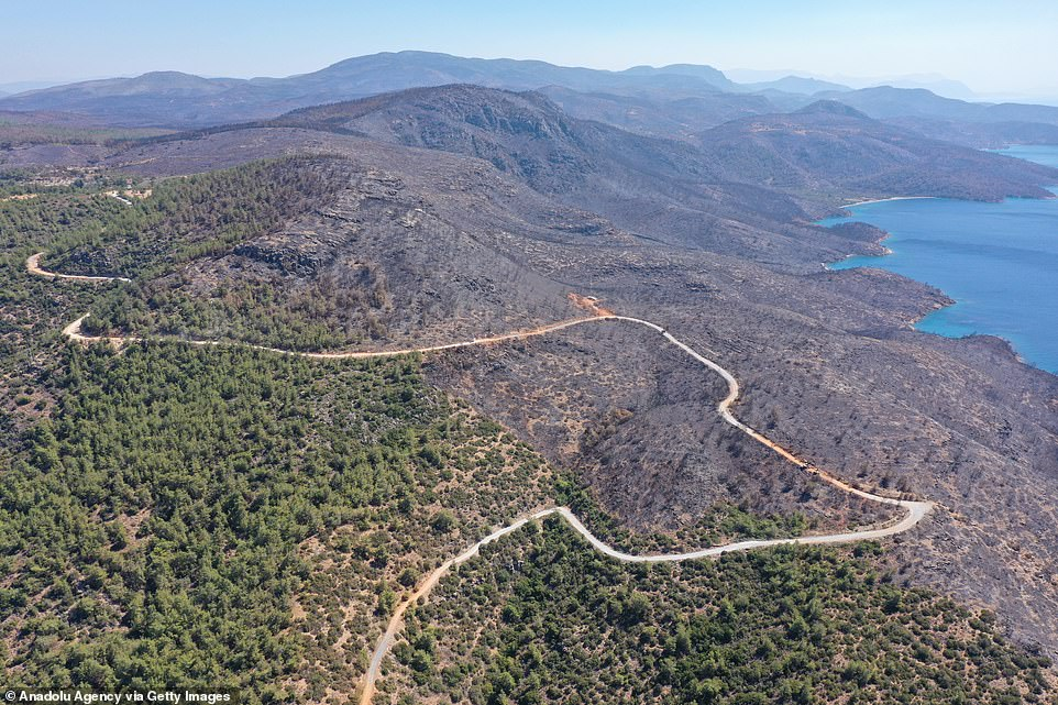 A drone photo shows the affected areas in Bodrum and Milas districts following the forest fire in Mugla province of Turkey on Monday