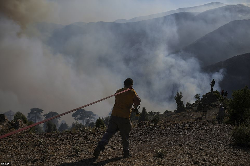 A firefighter carries a hosepipe as they extinguish a wildfire in Koycegiz, Mugla, on Monday afterAgriculture and Forestry Minister Bekir Pakdemirli said on the Sunday 'the situation is improving'
