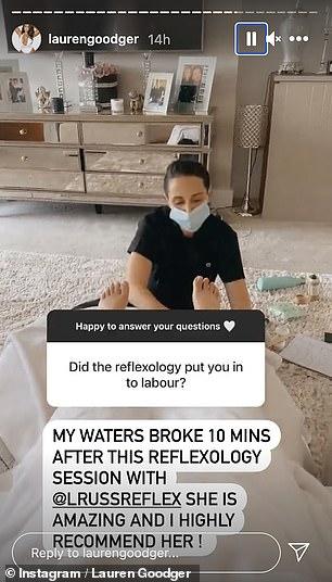Details: Lauren revealed her waters broke very quickly after having reflexology