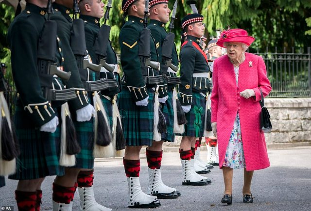 Her Majesty The Queen, 95, arrived for her traditional summer holiday at Balmoral yesterday. She is seen here during an inspection of the Balaklava Company, 5 Battalion The Royal Regiment of Scotland at the gate