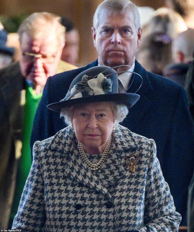 The Duke of York and the Queen attending St Mary the Virgin church in Hillington, Sandringham, Norfolk, last year