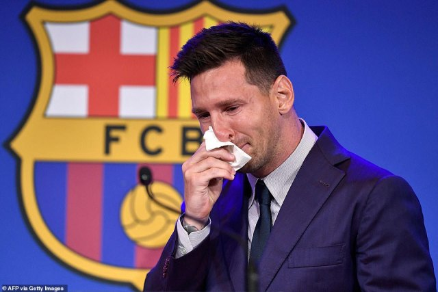 Messi looked devastated as he spoke to the media and his team-mates at the Nou Camp prior to his departure