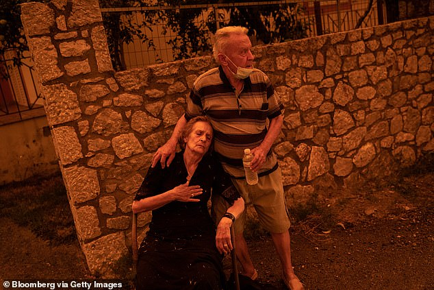 Noumidi explained she could not find her husband as flames engulfed their home on the island of Evia because he was helping battle the wildfires - the pair (pictured) were later reunited