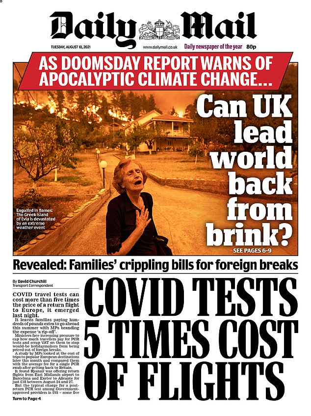 The iconic image which has made Noumidi the new face of global warming appeared on the front page of the Daily Mail on Tuesday August 10