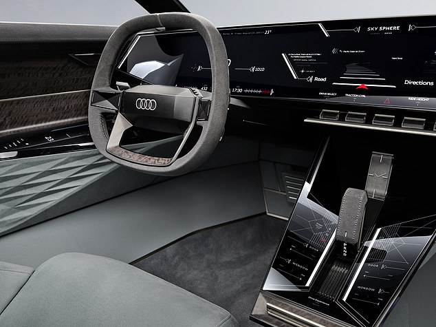 At the push of a button, the Skysphere changes into GT mode, with the steering wheel and pedals folding away