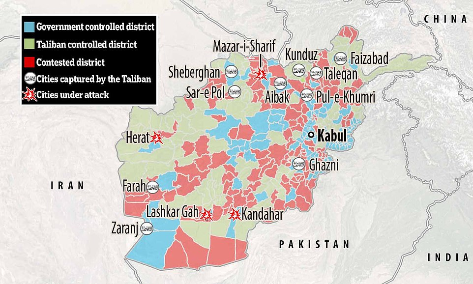 The Taliban has taken the city of Ghanzi, just 80 miles south of the capital Kabul, meaning Islamist fighters now control the main highways leading both north and south out of the city