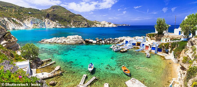 The British flagged tourist boat sank off the Greek island of Milos (pictured)