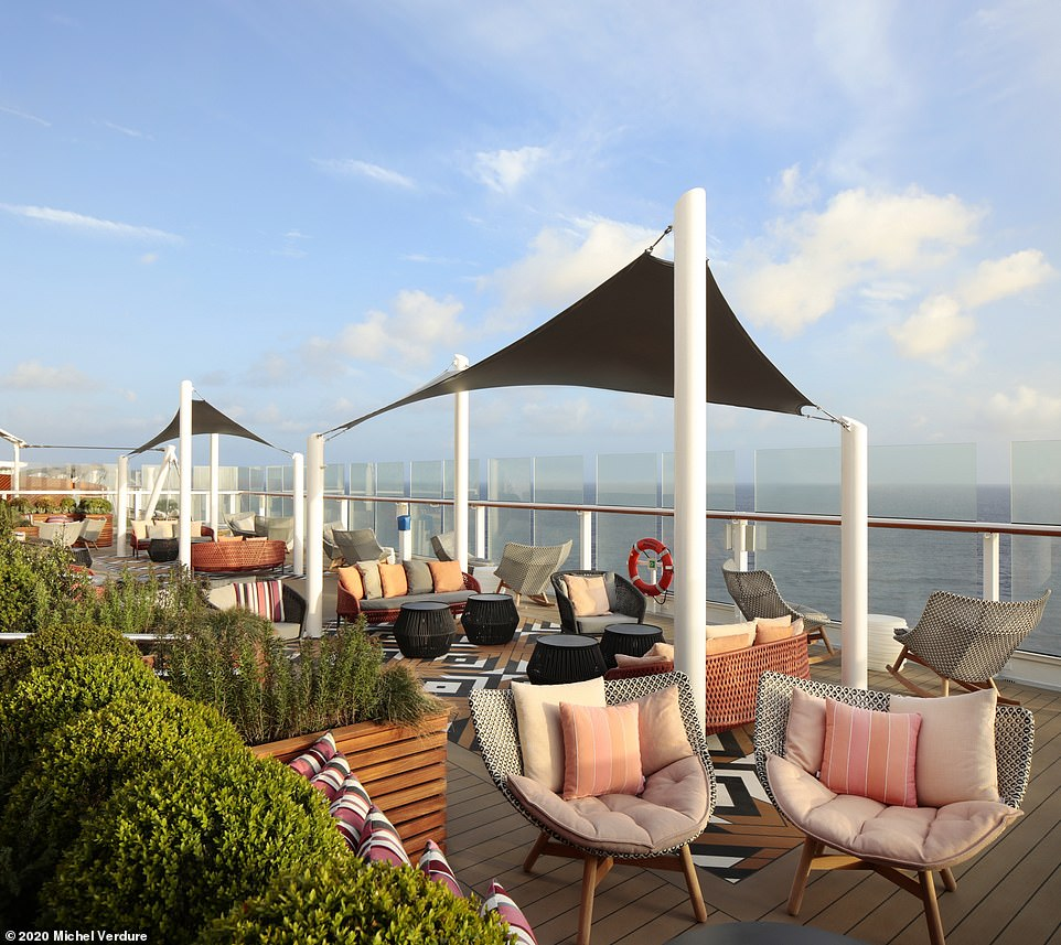 Celebrity Silhouette's open-air lounges invite guests to take in the sea view. Pictured is the Lawn Club