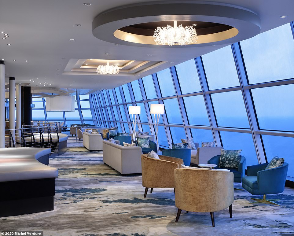 Caroline discovers The Sky Observation Lounge, pictured, 'has clusters of leather and chrome armchairs and the feel of a boutique hotel'
