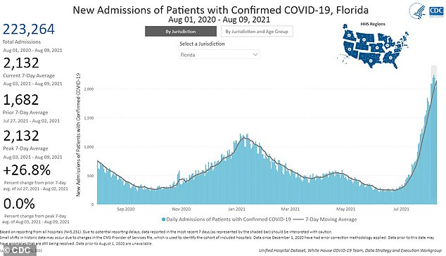 Florida is now seeing more Covid patients in its hospitals than at any other time during the pandemic, with over 2,000 people admitted each day in the past week