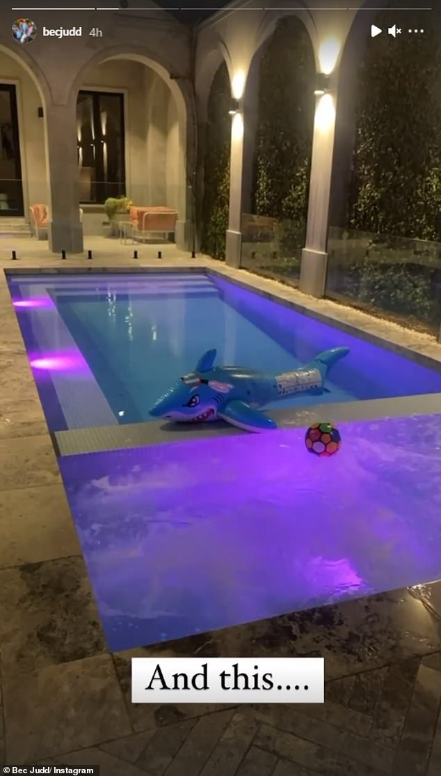 Lockdown ain't so bad in Brighton! Bec seemed to be in merrier spirits when she showed off her family's expensive mineral pool complete with blue and purple lights