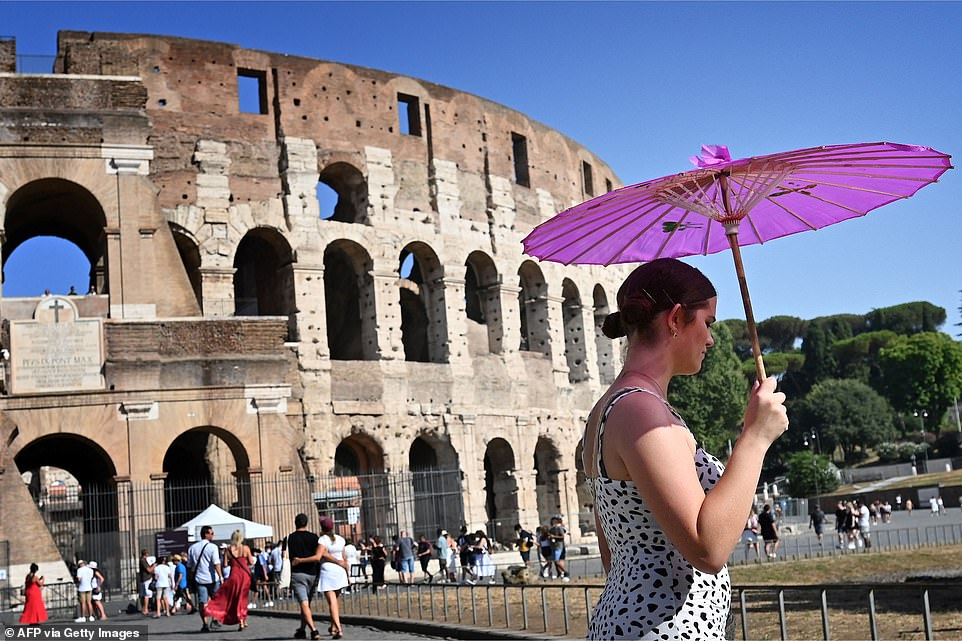 Temperatures topped 100F (38C) by early afternoon on Thursday in Rome, as the 'Lucifer' heat dome kept its grip on southern Turkey