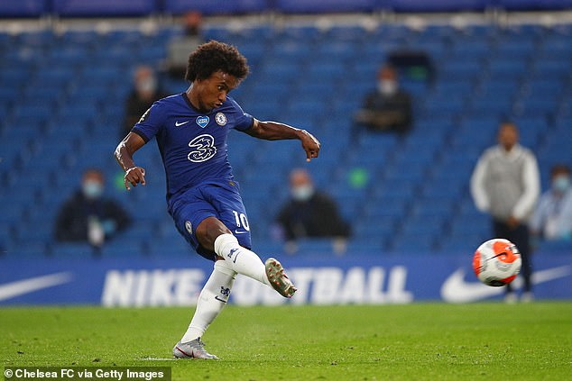 Brazilian football player Willian is pictured here scoring for Chelsea during the Premier League match against Watford at Stamford Bridge on July 4, 2020. This was Chelsea's fourth match after the league restarted due to Covid - with no fans in the stadium