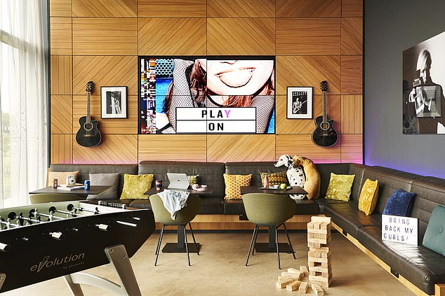 Take it easy: The work/relax area at the Moxy, Edinburgh