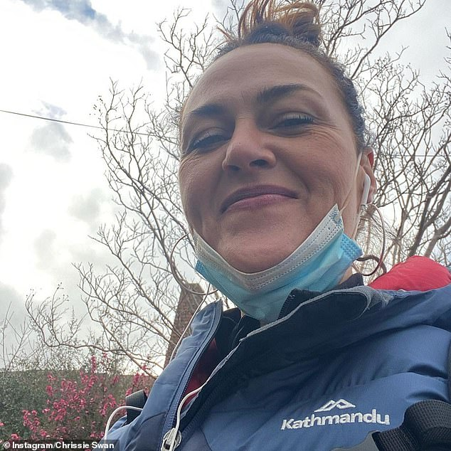 Milestone: Chrissie, 47, who has mostly kept her body transformation off social media, told her Instagram followers she'd walked 150km in the past fortnight for the Fred Hollows Foundation