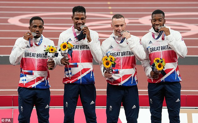 Ujah (left),Zharnel Hughes (second left), Richard Kilty (second right) and Nethaneel Mitchell-Blake (right) won silver medals in the 4x100m relay in Tokyo earlier this summer