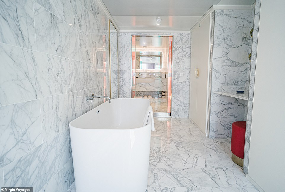 Theadults-only ship is being marketed towardspeople 'who hate cruises'. Pictured is one of the bathrooms adjoining a suite
