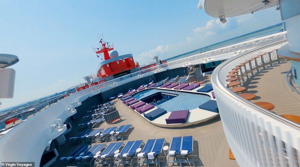 Wellness is big on the ship, with a boxing ring, basketball court, spin classes, and an outdoor swimming pool (pictured)