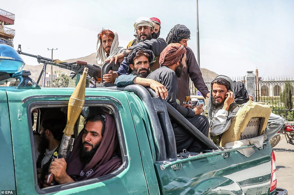 Taliban fighters patrolled Kabul on Monday as chaos continued at the city's airport as thousands try to flee the fundamentalist group
