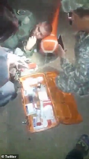 Video appears to show an injured Afghan pilot