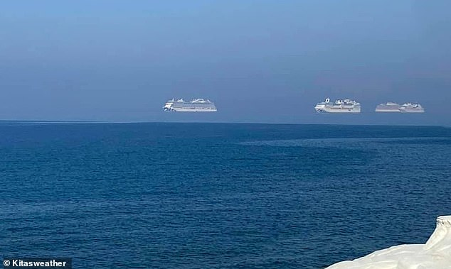 In June, three cruise ships, pictured, were seen apparently floating off the coast of the southern city of Limassol, Cyprus