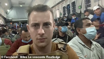Miles Routledge, 21, shared footage of him sitting alongside hundreds of other people fleeing the militant group as the aircraft touched down in the UAE