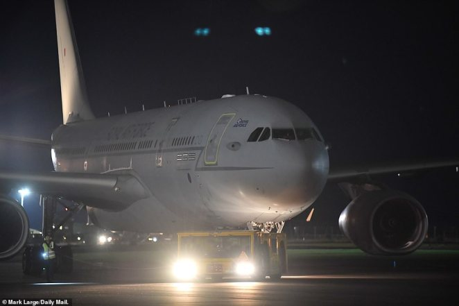 An RAF Voyager A330 aircraft lands at RAF Brize Norton last night carrying British nationals and Afghan evacuees from Afghanistan