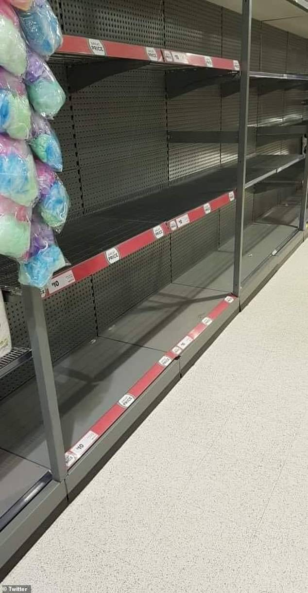 Shoppers shared images of empty shelves (pictured) soon after the lockdown was announced in New Zealand