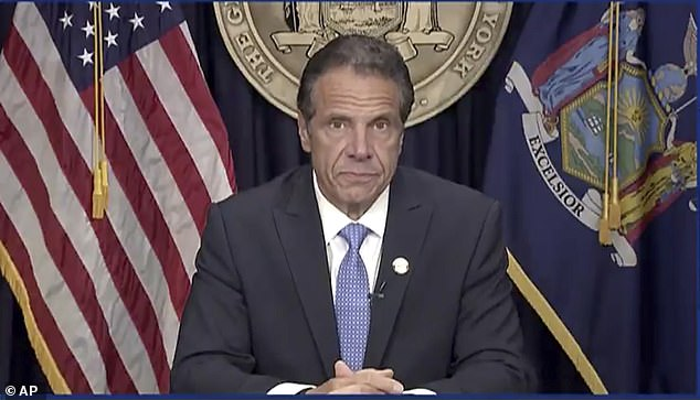 Andrew Cuomo is seen on August 10, announcing that he was resigning. A week later he commuted or pardoned 10 people in one of his final acts