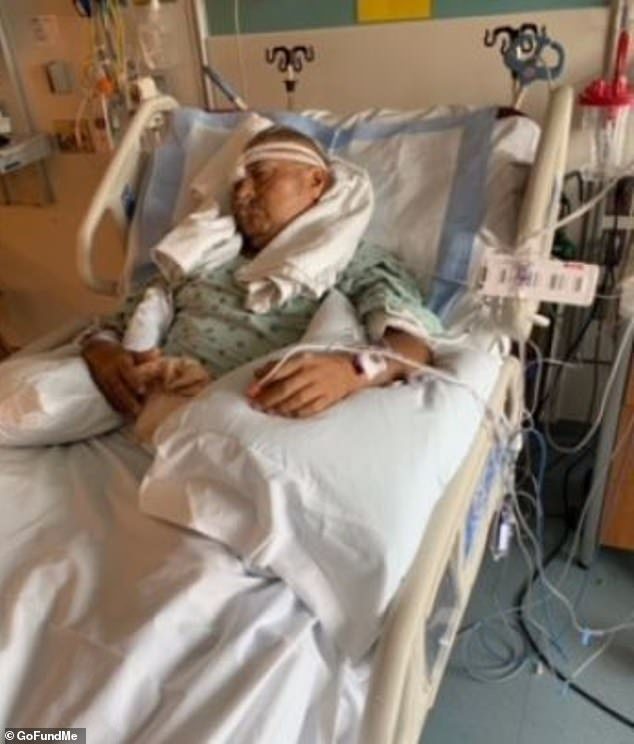 Officers Carlos Yanez is seen paralyzed in a hospital bed after he was shot during a traffic stop