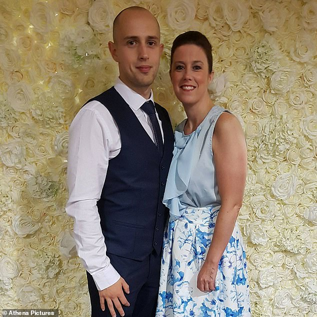 The court heard Ms Rich was 'coughing and spluttering', from being held under water for a few seconds before Richards let go (pictured together)