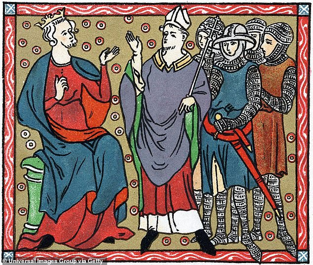 Badly behaved clergymen!Henry II (1133-89) King of England from 1154 is seen disputing with Thomas a Becket (1118-70), the Archbishop of Canterbury. Also pictured are four knights who murdered Becket