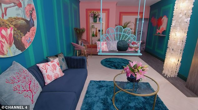 Claire's dull beige living room was transformed into a colorful boho-style paradise using a maximalist color palette with a hanging rocking seat, bar area and shell lighting (and a photo of Laurence on the door)