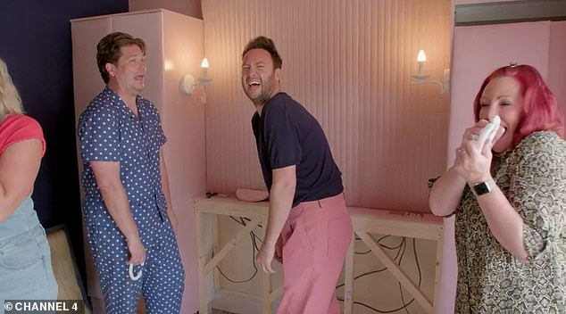 During Claire and Jo's makeover, Russell and Jordan tried to hang a chain made of clay in Lisa's bedroom.  But in true locker room style, before he had finished his sentence, the chain fell down
