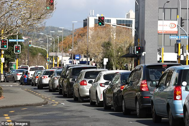 Gridlock in New Lynn as people queue for COVID-19 testing around Totara Health in Auckland, New Zealand
