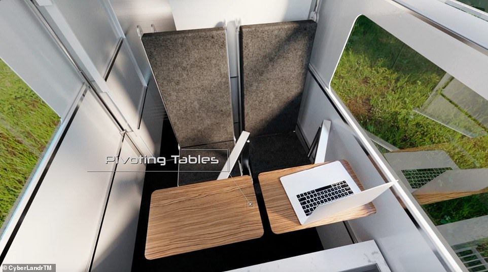 The owner can work in the camper thanks to theStarLinkTM satellite dish, which will provide high-speed internet