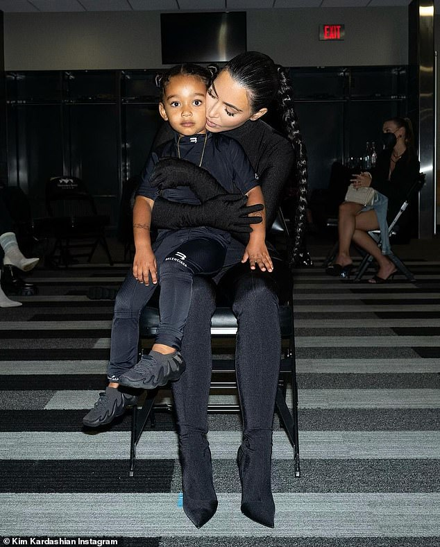 Family outing: Kim brought all four of their children to his first and second DONDA listening events at the Mercedes Benz Stadium in Atlanta