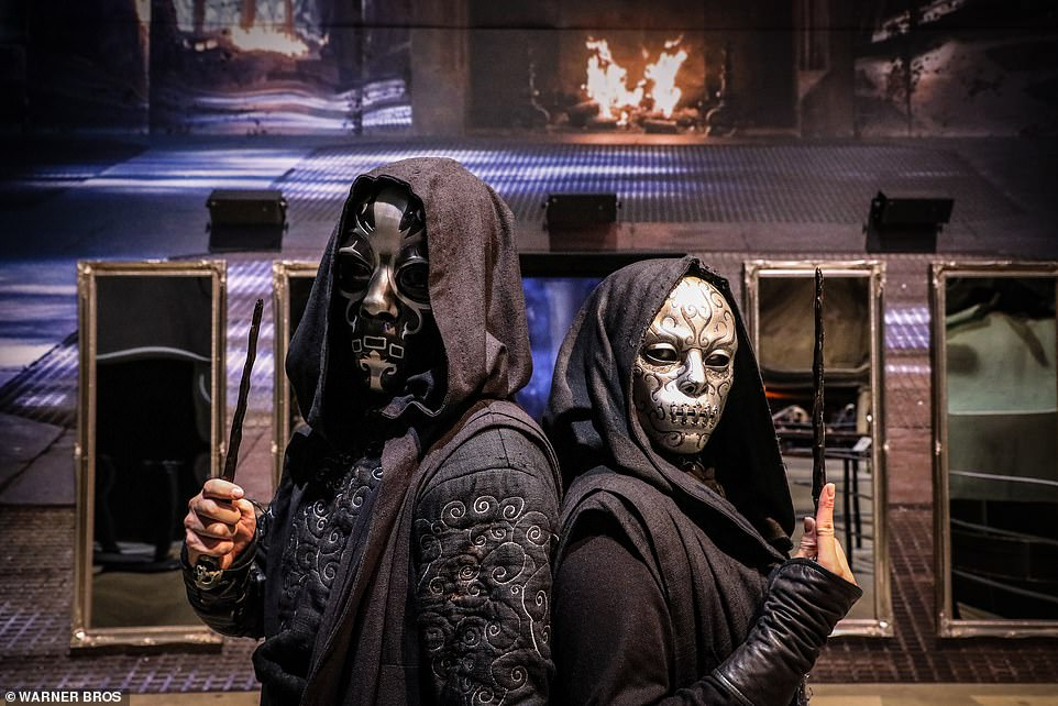 Lord Voldemort's infamous symbol, the 'Dark Mark', will be projected throughout the tour. Pictured are two Death Eaters ahead of a duel