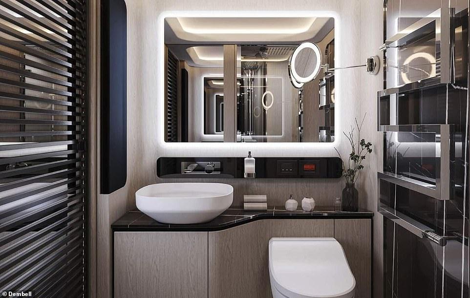 The stone-trim bathroom has a ceramic toilet and sleek vessel sink