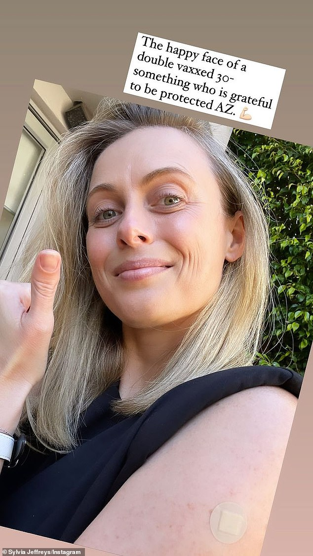 Celebrating: Sylvia Jeffreys, 35, celebrated being fully vaccinated this week and said she was 'grateful' to be protected against Covid-19 in a post to her Instagram Stories