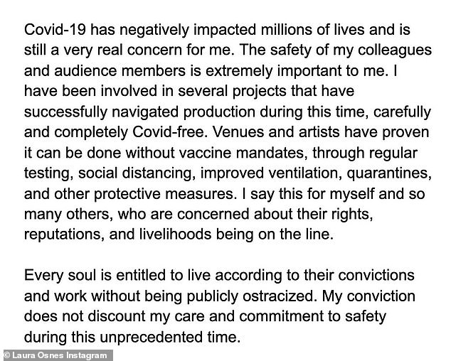 Explanation: The performer posted three pages of explanation to Instagram, justifying her stance on the vaccine and said 'every soul is entitled to live according to their convictions'