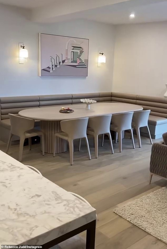 Enough room for everyone: On the other side of the living space was the corner dining suite with ample seating for her family and guests